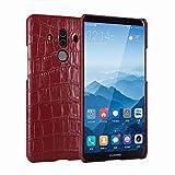 Aralinda Étui de protection en cuir véritable avec motif crocodile pour Huawei Mate 10 Pro Rouge