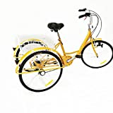 Kaibrite Triciclo para adultos de 24 pulgadas, 6 velocidades, 3 ruedas, amarillo, para adultos, con...