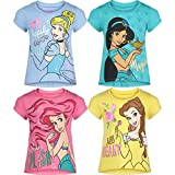 Disney Princess Cinderella Belle Toddler Girls 4 Pack Short Sleeve T-Shirts 5T