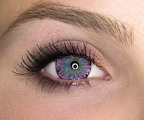 Kontaktlinsen farbig ohne Stärke farbige Jahreslinsen weiche Linsen soft Hydrogel 2 Stück Farblinsen + Linsenbehälter 0.0 Dioptrien natürliche Farben Serie Glitter Pink (rosa)