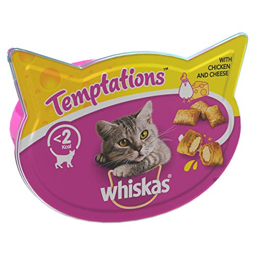 Whiskas Temptations - Tasty, Crunchy Cat Treats, Small Bite Size Snacks with A Delicious Chicken & Cheese Filling, 8 x 60 g Packets