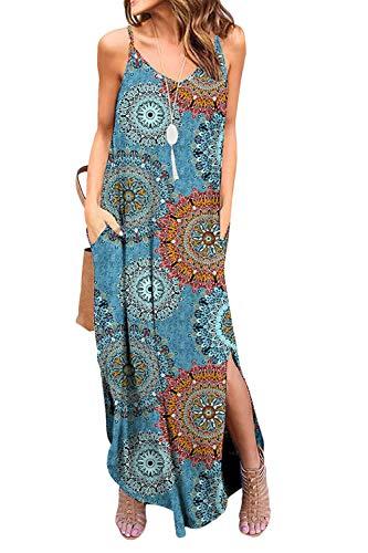 Zilcremo Damen Strandkleid Bohemian Lang Kleid Sommerkleid Ärmellos Cami Boho Kleider Maxikleid Blaufloral XL