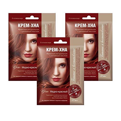 3xSET Henna Creme mit Klettenöl iranische Haarfarbe Haarkur Haare natürlich Naturkosmetik Tönungscreme gebrauchsfertig (Kupferrot)