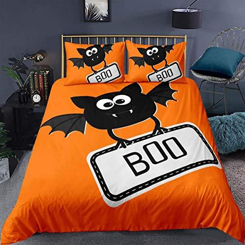 416 Halloween Comforter Cover, Funny Bat With Scare Fangs Frighten Kid Child Cartoon Orange Whit,Decorative 3 Pieces Bedding Set Double Size (1 Duvet cover Set & 2 Pillow Shams),Zipper