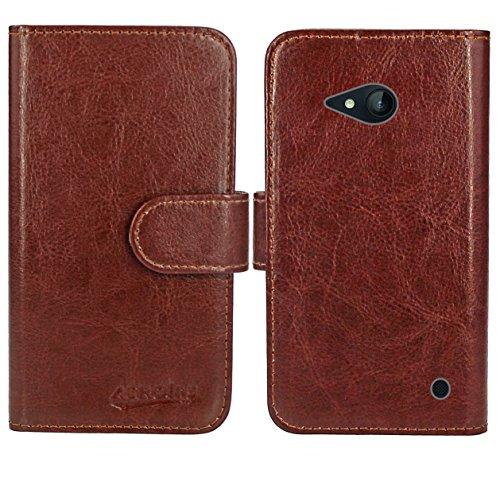 FoneExpert® Nokia Lumia 735 730 Handy Tasche, Wallet Hülle Flip Cover Hüllen Etui Ledertasche Lederhülle Premium Schutzhülle für Nokia Lumia 735 730 (Wallet Braun)