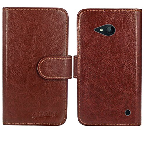Nokia Lumia 735 730 Handy Tasche, FoneExpert® Wallet Hülle Flip Cover Hüllen Etui Ledertasche Lederhülle Premium Schutzhülle für Nokia Lumia 735 730 (Wallet Braun)