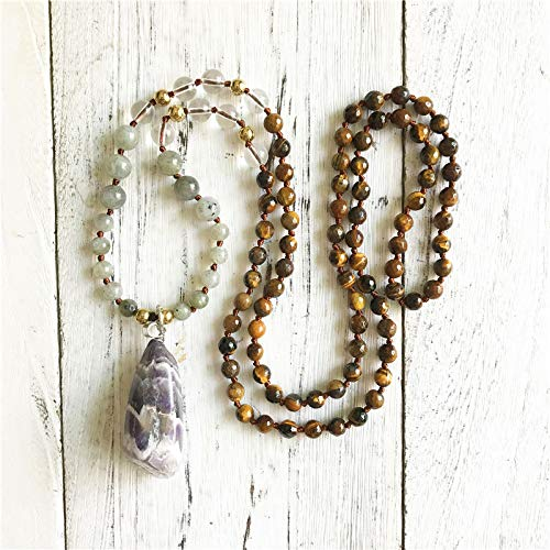 SWAOOS 108 Collar De Cuentas Mala, Colgante De Cristales Naturales, Ojo De Tigre, Labradorita, Cuentas De Cuarzo Transparente, Collar con Borlas De 30-32 Pulgadas
