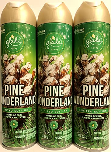 Glade Air Freshener Spray - Pine Wonderland - Holiday Collection 2020 - Net Wt. 8 OZ Per Can - Pack of 3 Cans