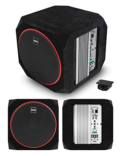 BOSS Audio Systems CUBE10 Car Subwoofer and Amp Package – Built-in Amplifier, 10 Subwoofer with Passive Radiator, Remote Subwoofer Control