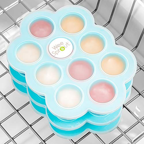 WeeSprout Silicone Baby Food Freezer Tray with Clip-on Lid by WeeSprout - Perfect Storage Container for Homemade Baby Food, Vegetable & Fruit Purees, and Breast Milk