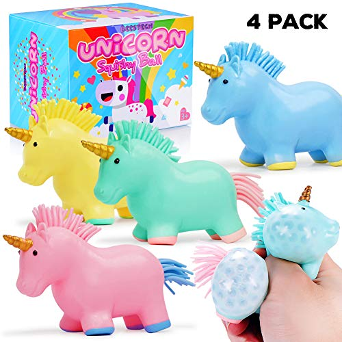 BEESTECH 4 Pack Colorful Unicorn Squishy Stress Balls Toy for Girls, Boys, Adults, with Water Beads Inside, Squishy Squeezing Stress Relief Novelty Toys