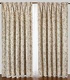 リーフ柄1級遮光カーテンと花粉キャッチミラーレース 4枚入り ベージュ 巾150X丈200(198)