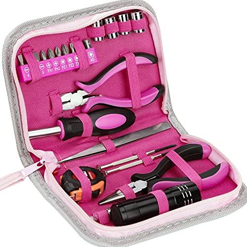 Werkzeugset Rosa Lady Werkzeug Set mit Werkzeugkoffer 23-Teiliges Reparatur Werkzeug Kit mit Schraubendreher Bit Maßband Schneidzange Für Zuhause Büro Fahrrad