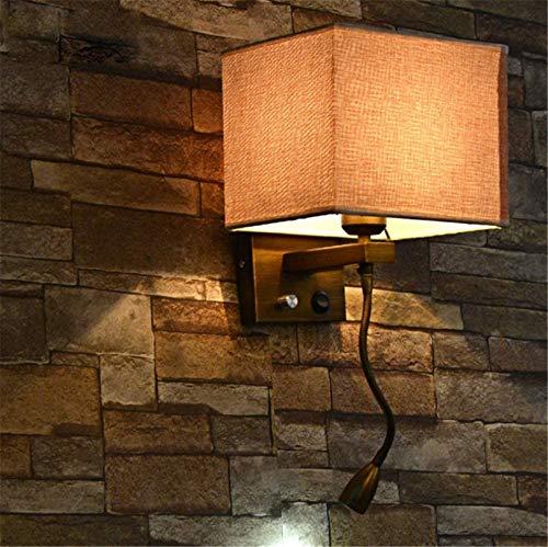 Lámparas de pared industriales, Luces de pared Interior Retro Estilo americano Estilo Lámpara de noche Tela Shade Lata de hierro labrado Imitación Lámpara de pared de cobre con la luz de lectura flexi