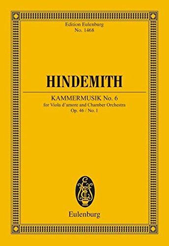 Kammermusik Nr. 6: für Viola d'amore und Kammerorchester. op. 46/1. Viola d'amore und Kammerorchester. Studienpartitur. (Eulenburg Studienpartituren)