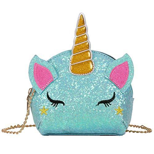 INTVN Bolso Unicornio de Hombro,Brillo Lindo Monedero con Lentejuelasc,3D Bolsa de Mensajero para Mujeres niñas,Del Monedero de Cuero Bolso Azul