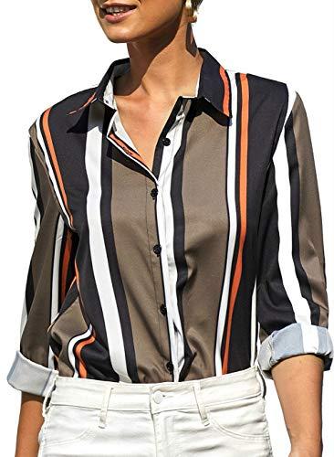 Aleumdr Donna Camicia, Camicetta Blusa Elegante Donna Manica Lunga Casual Sexy Ufficio Camicetta Elegante Top Primavera Estate Bavero Elegante Camicia Blusa