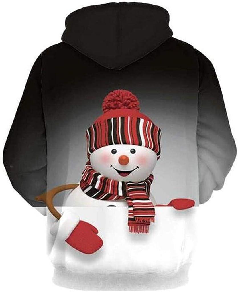 Holzkary Unisex Christmas 3D Print Drawstring Hoodie Pullover Sweatshirt with Kangaroo Pocket