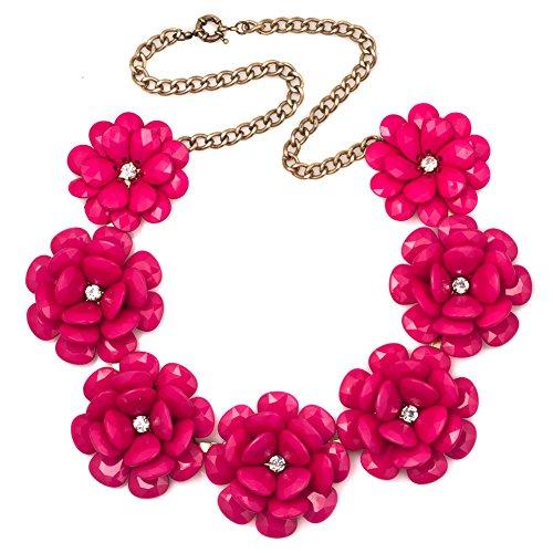 Korliya grande Chunky Big Rose fiore collana girocollo ciondolo per le donne e base metal, colore: Rose Pink, cod. Korliya_KSEB_A17_NKE04