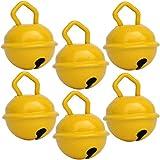Cascabeles Amarillos Pequeños (15mm x6 Campanillas de Bronce Musicales Sonoros) - 16 Colores MUSIKID (Bebe Niños) Para Manualidades Navidad Boda Sonajeros Muñeca Perros Pesca Carnaval Gatos Llavero