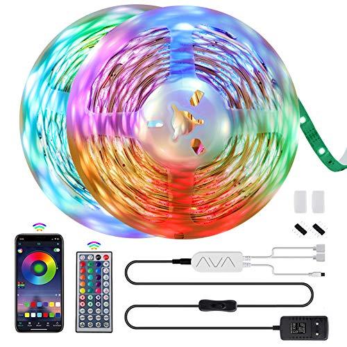 Morfone LED Strip 12M LED Streifen 5050 RGB, APP-Steuerung Bluetooth Musikalische Lichtband mit 44 Tasten Fernbedienung, 360 Leds 12V Netzteil LED Band für TV, Haus, Party, Bar Dekoration 【2x6M】