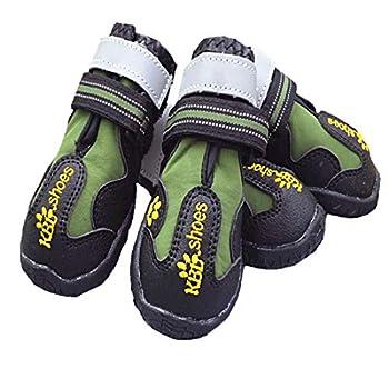 VICTORIE Bottes Chien Chaussure Respirantes Chausson Antidérapant Étanche Randonnée Voyage Montagne 4PCS Vert M