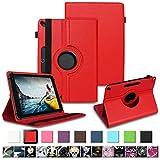 NAUC Tablet Tasche für Medion Lifetab P10610 P10603 P10606 P10602 P9702 Hülle Schutzhülle Universal Kunstleder Standfunktion 360 Drehbar, Farben:Rot