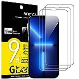 new'c 3 pezzi, vetro temperato per iphone 13 pro max (6,7), pellicola prottetiva anti graffio, anti-impronte, senza bolle, durezza 9h, 0,33mm ultra trasparente, ultra resistente