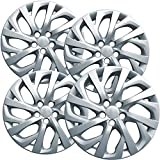 OxGord 16 inch Hubcaps Best for 09-19 Toyota Corolla - Set of 4 Wheel Covers 16in Hub Caps Silver Rim Cover - Car Accessories for 16 inch Wheels - Bolt On Hubcap, Auto Tire Replacement Exterior Cap