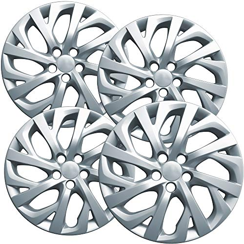 OxGord 16 inch Hubcaps Best for 09-19 Toyota Corolla - Set of 4 Wheel Covers 16in Hub Caps Silver Rim Cover - Car Accessories for 16 inch Wheels - Snap On Hubcap, Auto Tire Replacement Exterior Cap