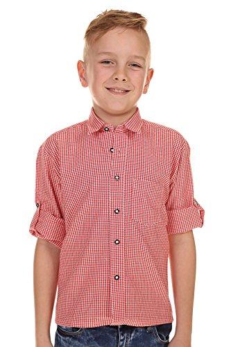 Isar-Trachten Kinder Hemd Krempelarm 48300 ROT
