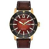Citizen Men's Brycen Stainless Steel Quartz Watch with Leather Calfskin Strap, Brown, 22 (Model: AW0076-03X)