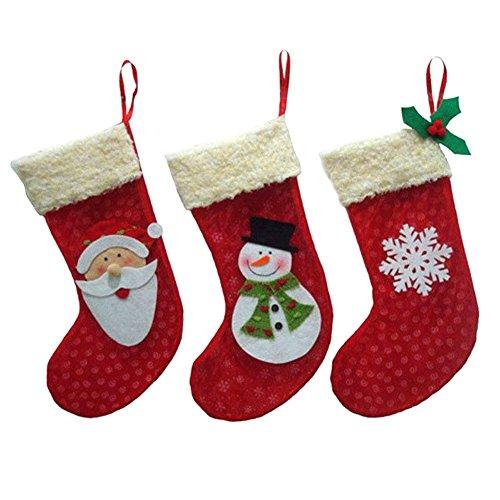 Demiawaking 3Pcs Weihnachtsstrümpfe Socken Süßigkeiten Tüten Geschenk Weihnachtsbaum Deko Party Weihnachtsdeko Weihnachten Besteckhalter