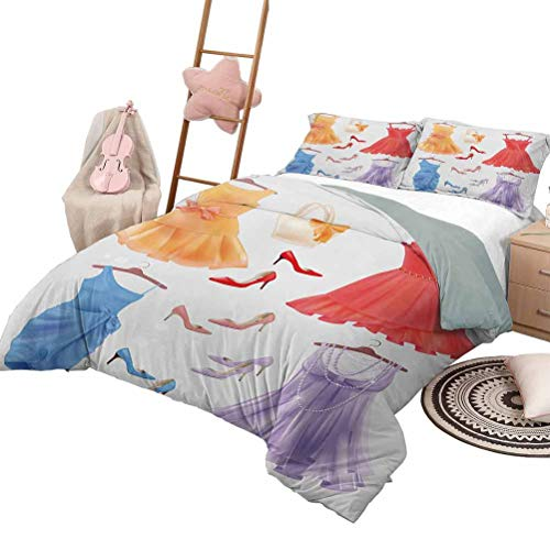 DayDayFun Quilt Bedding Set Heels and Dresses Soft All-Season Cotton Blend Bedspread Festive Attire for Party Old Fashioned Female Cocktail Dresses on Hanger King Size Multicolor