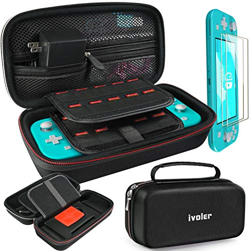 iVoler Tas voor Nintendo Switch Lite, Carrying All Protective Hard Travel Storage Bag +2 switch Lite screenprotector met 24 gamecartridges voor ninten switch console en accessoires (zwart)