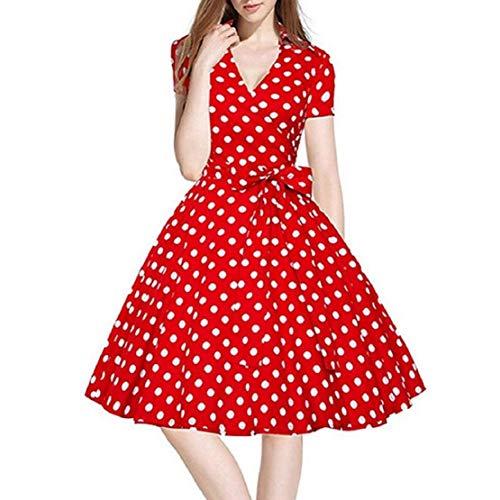 Bluelucon Rockabilly-jurk voor dames, vintage stijl (jaren 50), V-hals, met korte mouwen, elegante petticoat jurk, knielang, cocktailjurk, avondjurk, A-lijn, jurk, Audrey Hepburn party prom swing dress