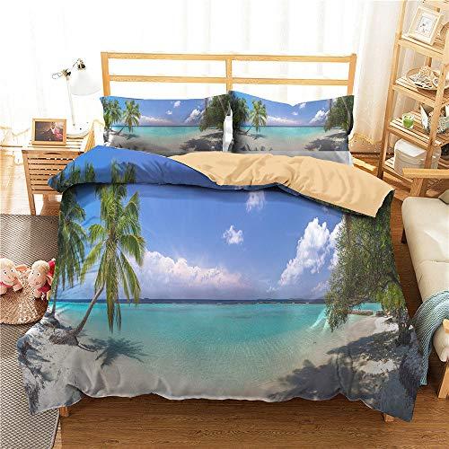 3D Beach Landscape Sea Copripiumino 200x200 Biancheria da Letto Sunny Sand Palm Trees Summer Comforter Set Queen King Twin Full Size Microfibra per Kid Girl Adulto,Double(200*200)