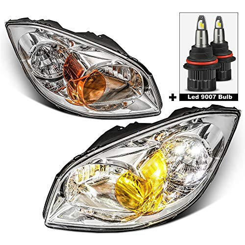 MOSTPLUS Headlight Assembly Compatible with 2005-2010 Chevy Chevrolet Cobalt/ 2007-2010 Pontiac G5/ 2005 2006 Pursuit -Chrome Housing Front Lamp with Led 9007 High/low Beam Bulb (Set of 2)
