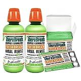 TheraBreath Fresh Breath Oral Rinse, Mild Mint, 16 Ounce Bottle (Pack of 2) and TheraBreath Fresh Breath Chewing Gum with ZINC, Citrus Mint Flavor, 60 Pieces