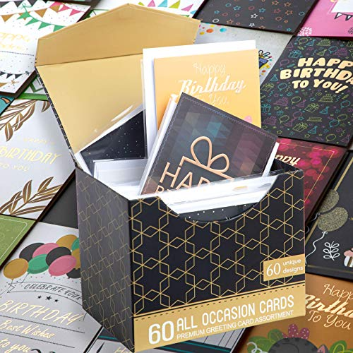 """60 Rose Gold Foiled Birthday Cards w/Assorted All Occasion Greeting Cards - All Unique Design, Big 5""""x7"""", Thank You, Anniversary Cards, Simple Message Inside, Magnetic Box Variety Set w/Thick Envelope"""