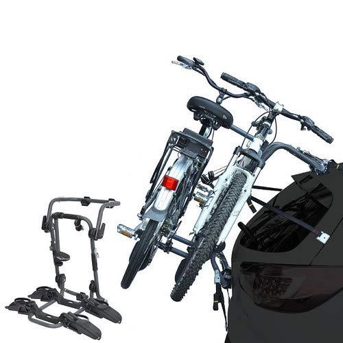 EMMEA PORTABICI Posteriore Auto 2 Bici Regolazione Cinghie Biciclette Compatibile con Fiat DOBLò (Barra Anteriore-Centrale-Posteriore) 3P (00-09) Acciaio CARICO Max 45KG Pure Instinct Rear