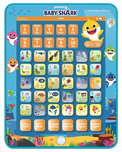 Lexibook JCPAD002BSi1 Baby Shark Zweisprachig Interaktives Lerntablett Spielzeug zum Lernen Alphabet Buchstaben Zahlen Wörter Rechtschreibung und Musik, Englisch/Französisch Sprachen, Blau/Orange