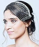 Denifery Birdcage Veil Headband White and Black Lace Pearls Boudoir Veil Bridal Veil Bridesmaid Headband Wedding Accessory (White)