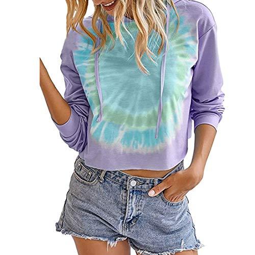 SEXOX Womens Tie Dye Hoodies Printed Sweatshirt Casual Long Sleeve Loose Shirt Lightweight Pullover Tops Batik Ladies Slim Fit Elegant with Drawstring