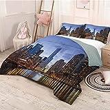 HELLOLEON - Juego de 3 fundas de edredón y 2 fundas de almohada, diseño contemporáneo del Puente de Chicago Riverside Escena moderna de EE. UU.