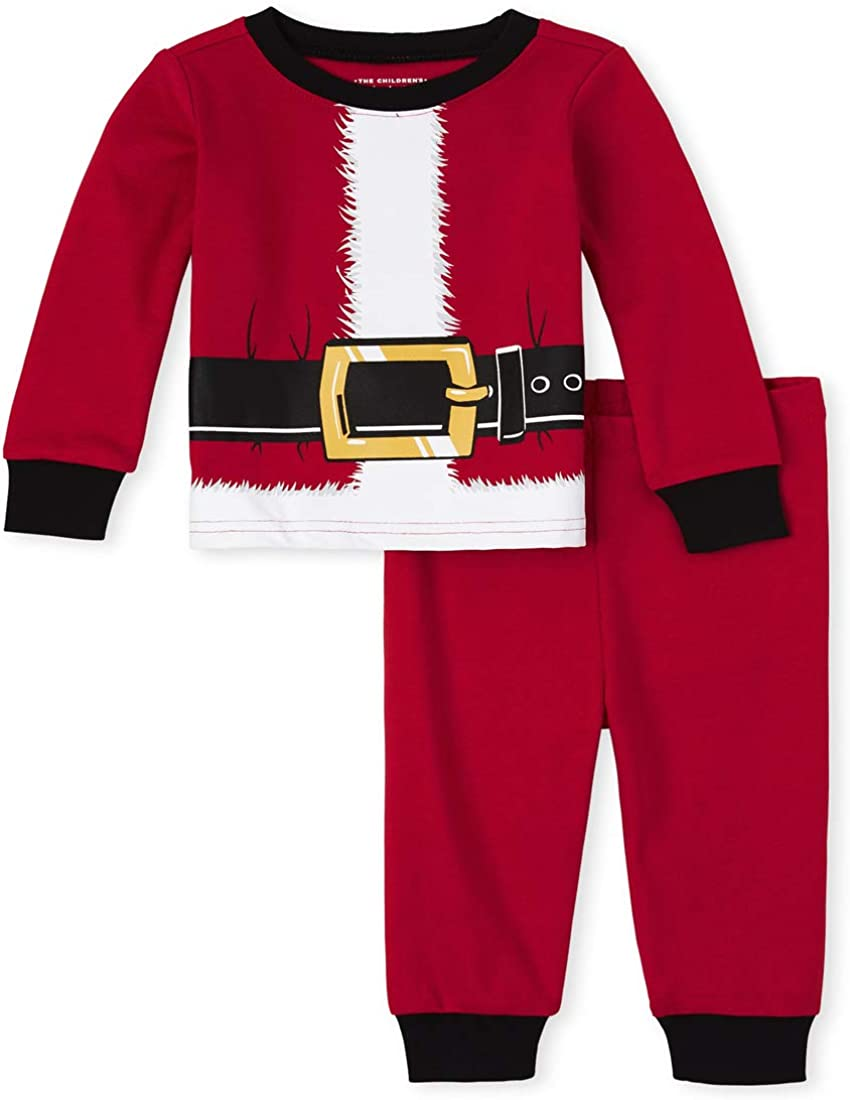 The Children's Place Boys' Unisex Baby and Toddler Matching Family Santa Suit Snug Fit Cotton Pajamas