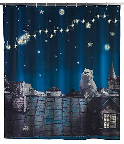 WENKO LED Duschvorhang Moon Cat, 180 x 200 cm Badezimmer Dusche Vorhang