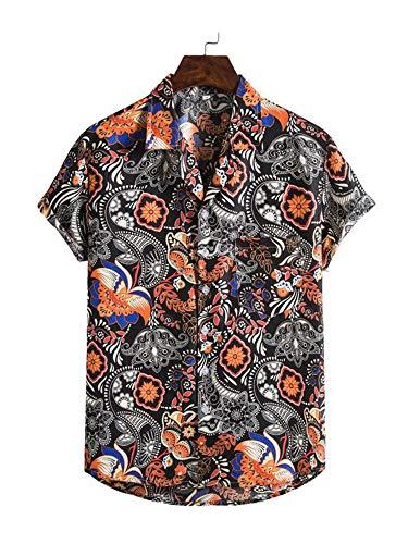 Herren Hawaiihemd Sommer Kurzarm Beiläufig Hemd Bananen Blätter Druck Loose Freizeithemd Aloha Shirt für Strand (Dunkel Schwarz, XXXL)