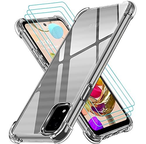 ivoler Funda para LG K42 + 3 Unidades Cristal Vidrio Templado Protector de Pantalla, Ultra Fina Silicona Transparente TPU Carcasa Airbag Anti-Choque Anti-arañazos Caso