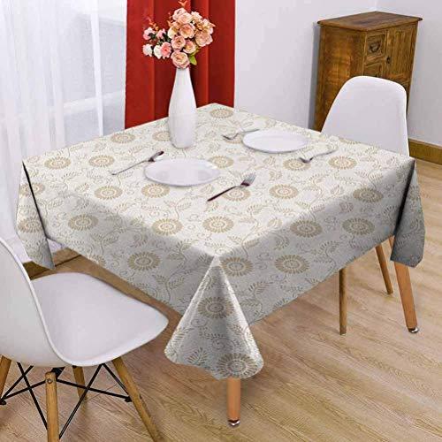 Hohun Crema Mantel Cuadrado Interior Motivos Abstractos de Girasol en Estilo Antiguo Romántico Rollo Antiguo Inspirado Diseño sin Costuras Crema Tan